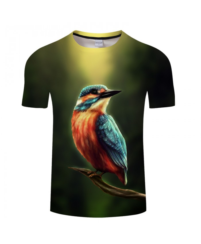 Kingfisher by KhaliaArt Bird 3D Print t shirt Men Women tshirt Summer Casual Short Sleeve O-neck Tops&Tees Streetwear Drop Ship