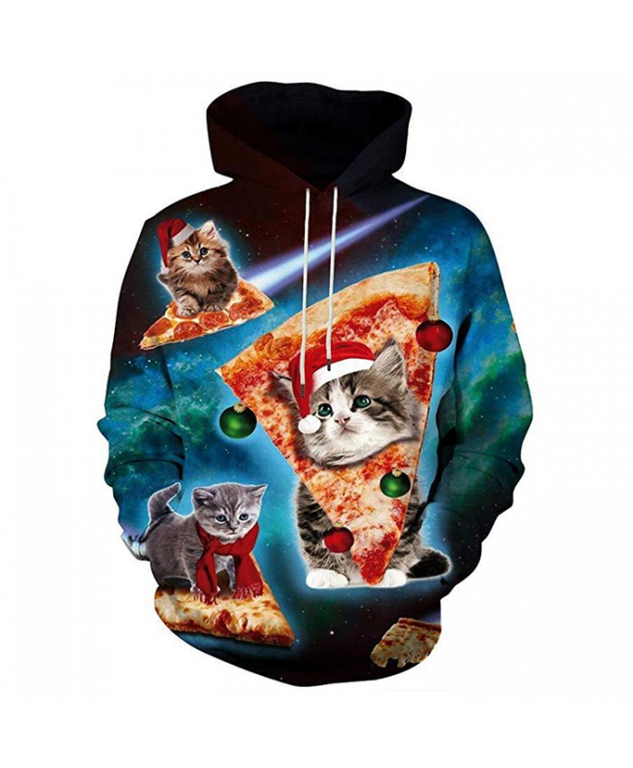 Kitten Wants Christmas Pizza Hoodies 3D Sweatshirts Men Women Hoodie Print Couple Tracksuit Hooded Hoody Clothing