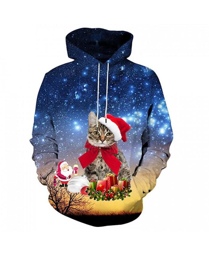Kitten has a lot of Christmas presents Hoodies 3D Sweatshirts Men Women Hoodie Print Couple Tracksuit Hooded Hoody Clothing