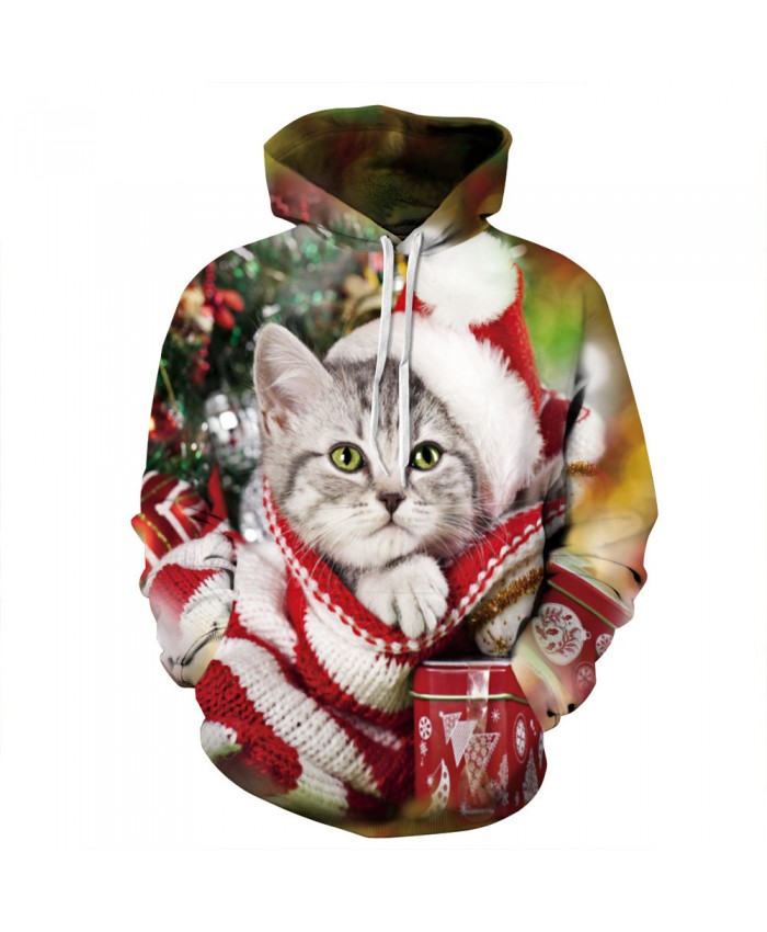 Kitten wants a Christmas present Hoodies 3D Sweatshirts Men Women Hoodie Print Couple Tracksuit Hooded Hoody Clothing