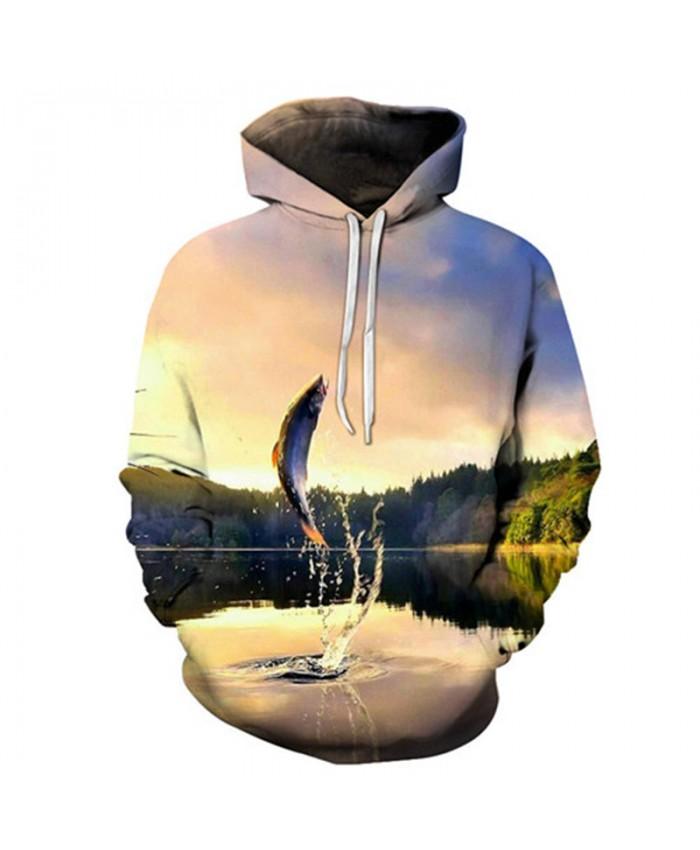 Lake 3D Hoody Fish Hoodies Men Sweatshirts Anime Tracksuit Brand Pullover Streatwear Clothing Funny Coat Drop ship