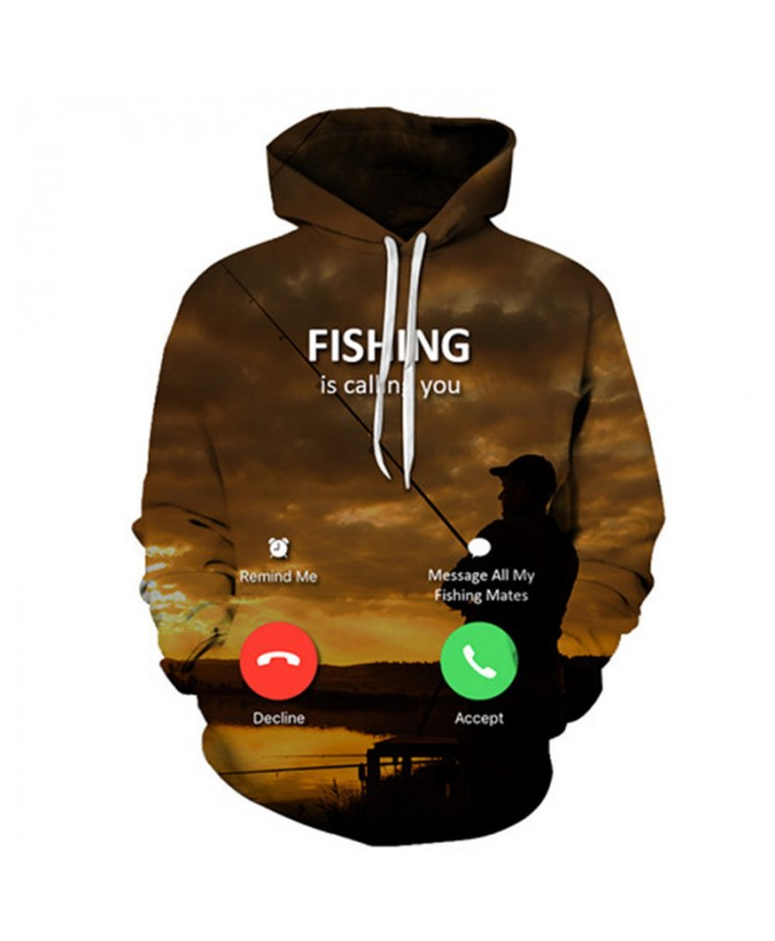 Lake 3D Hoody Fish Hoodies Men Sweatshirts Anime Tracksuit Brand Pullover Streatwear Clothing Funny Coat Drop ship B