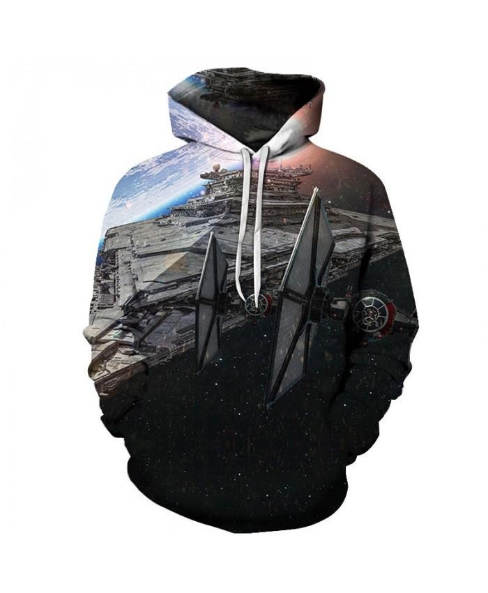 Large Spaceship Star Wars 3D Printed Mens Pullover Sweatshirt Clothing for Men 2021 Custom Pullover Hoodie Drop Ship