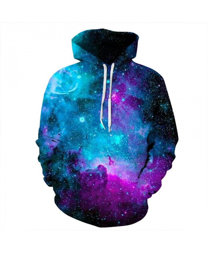 Latest Fashion Hoodies Colorful Space Galaxy Print Hooded Sweatshirt Women Men Sportwear