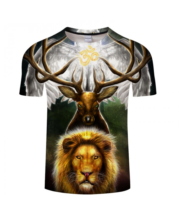 Leaders of the Earth by KhaliaArt Elk 3D Print t shirt Men Women tshirt Summer Anime Short Sleeve O-neck Tops&Tee Drop Ship Lion