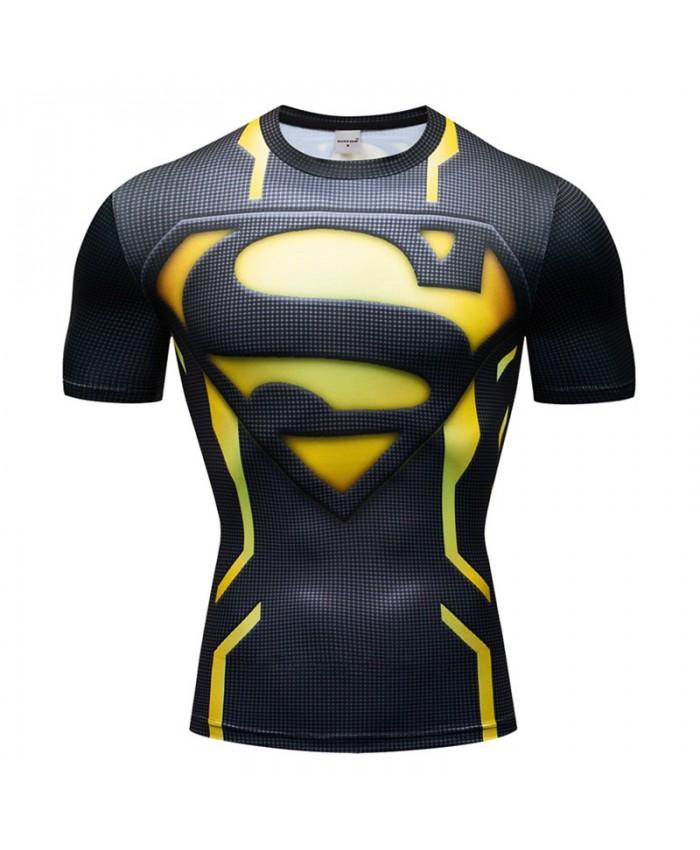 Letter S T Shirt Men Tops Superman Short Sleeve Tees Fitness T Shirt Compression Crossfit Bodybuilding Camiseta
