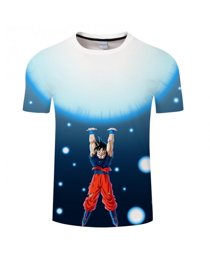 Light Blue 3D Print T shirt Men Women Summer Anime Short Sleeve Tops&Tees Tshirts O-neck Dragon Ball Drop Ship