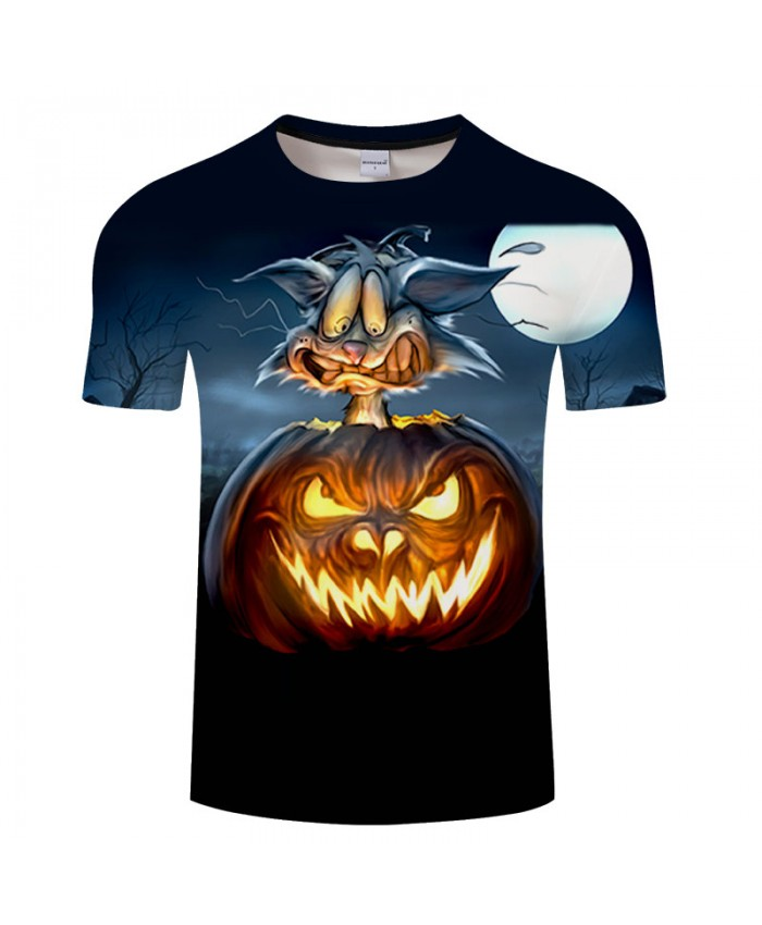 Light Pumpkin 3D Print T shirts Men T-shirts Brand Tops Tees Streetwear Summer Short Sleeve tshirt O-neck Drop Ship