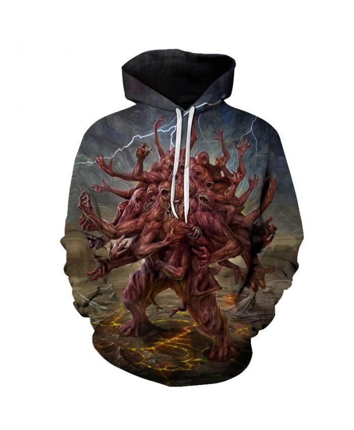 Lightning Monster 3D Hoodies Men Hoody Harajuku Hoodie Streatwear Sweatshirt Tracksuit Pullover Coat Hip Hop Dropship