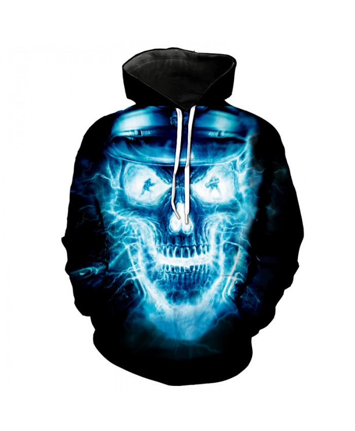 Lightning Skull Sheriff DJ Dancer Hooded Sweatshirt Cool Street Pullover Tracksuit Pullover Hooded Sweatshirt