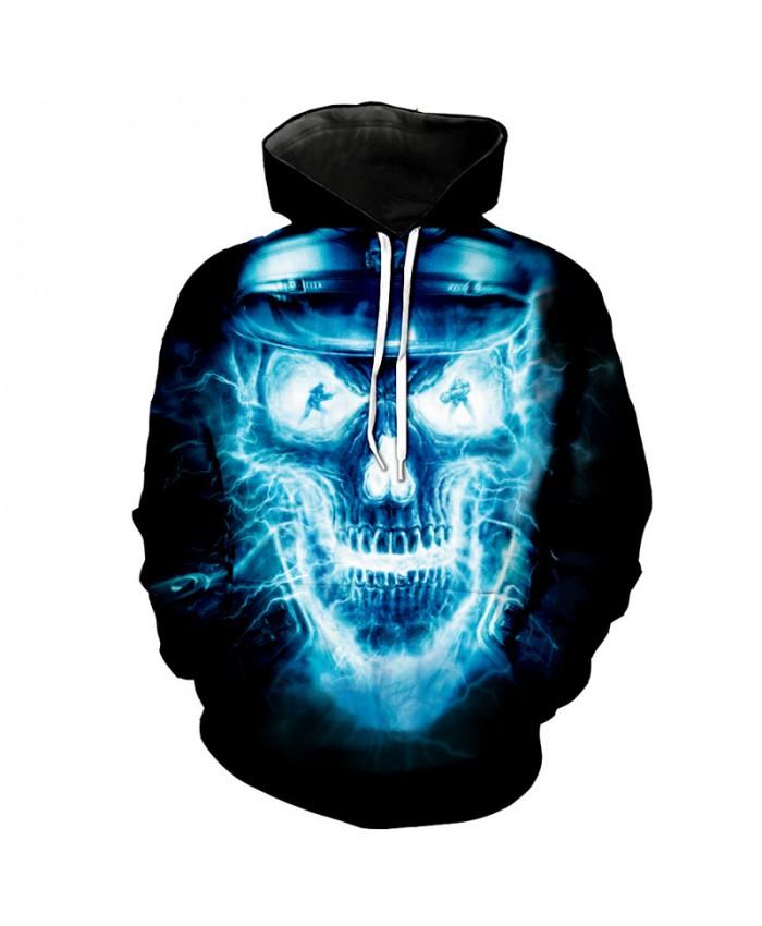Lightning Skull Sheriff DJ Dancer Hooded Sweatshirt Cool Street Pullover Tracksuit Pullover Hooded Sweatshirt