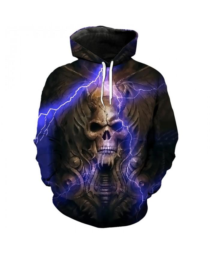 Lightning stone statue skull printed 3D hooded pullover hip hop sweatshirt Tracksuit Pullover Hooded Sweatshirt