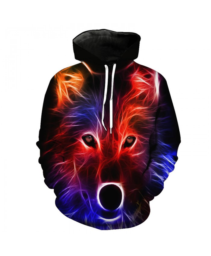 Line Red Wolf Fashion Hooded Sweatshirt Neutral Pullover Men Women Casual Pullover Sportswear