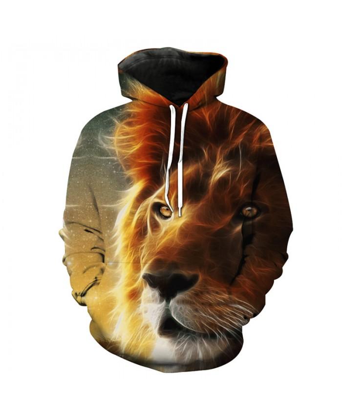 Linear Lion Face Print 3D Hooded Sweatshirt Neutral Pullover Fall Sportswear Casual Hoodie Autumn Tracksuit Pullover Hooded Sweatshirt