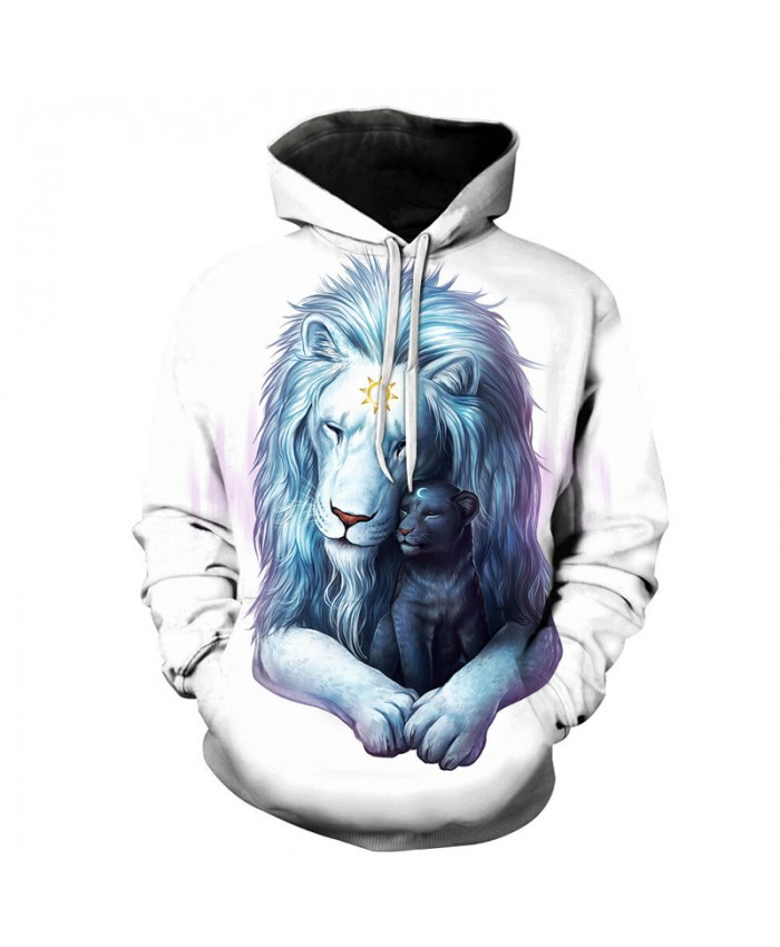 Lion Printed Hoodies Men Women 3D Sweatshirts Novelty Pullover Fashion Casual Tracksuit