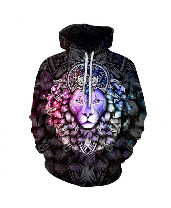 Lion Art Unisex Hoodie 3D Print Sweatshirts Pullover Harajuku Mens Hoody Streetwear Coat for Autumn
