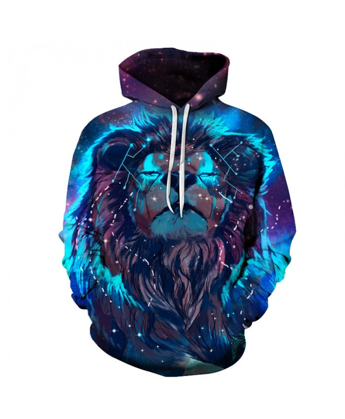 Lion Constellation Printed Hoodies 3D Men Women Hooded Pullover 6XL Sweatshirts Casual Pocket Outwear Novelty Coat