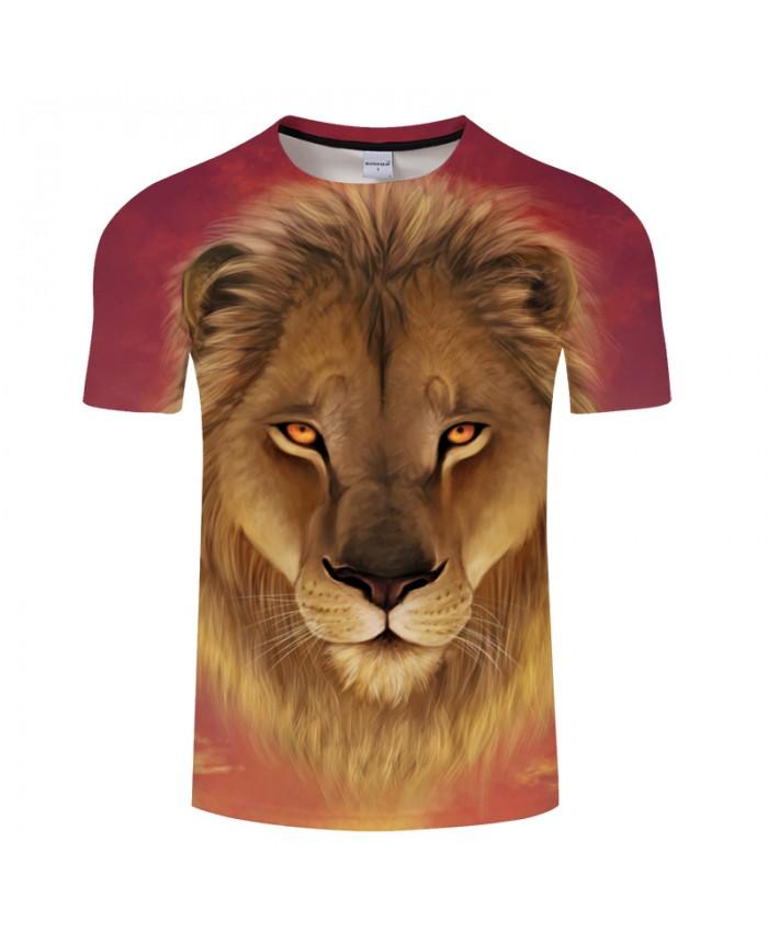 Lion Digital Print 3D Men's t shirt Unisex 2021 Summer O-neck Short Sleeve Tees Camisetas Drop Ship Plus Size