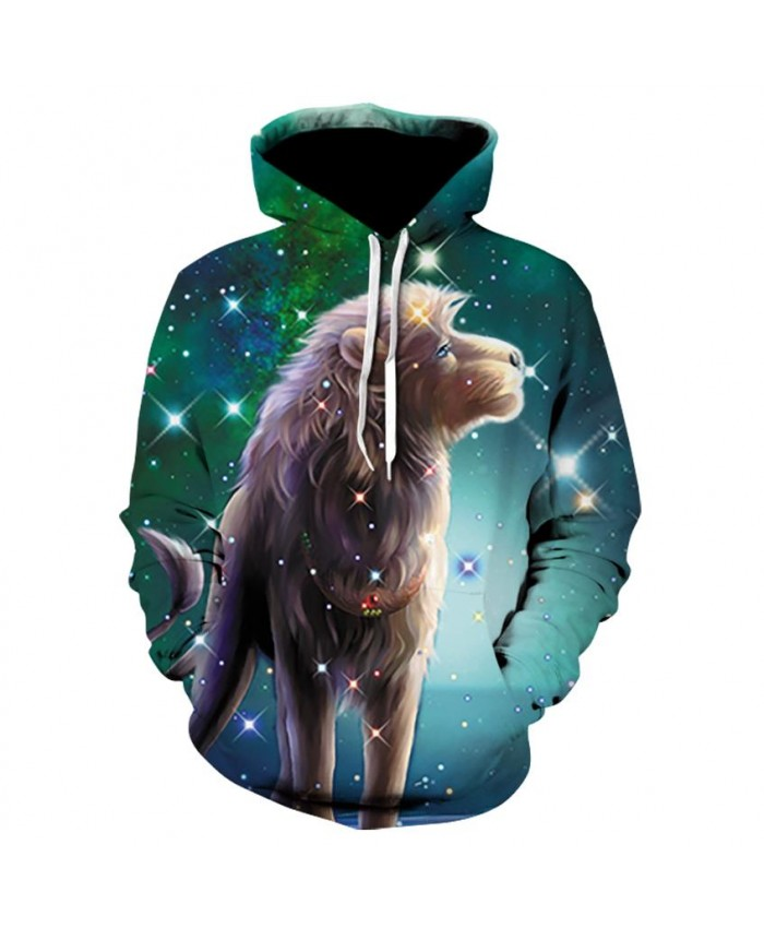 Lion Hoodies Men Women 3d Sweatshirts With Hat Print 3d Lion Howling To The starry sky Hooded Hoodies Hoody