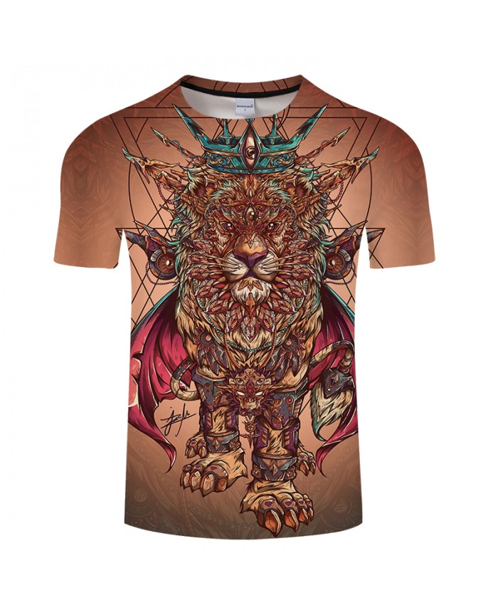 Lion Pngposter Art 3D Print T shirt Men Women Summer Anime ShortSleeve Top&Tee Cool Tshirt Boy Streatwear Coffee DropShip