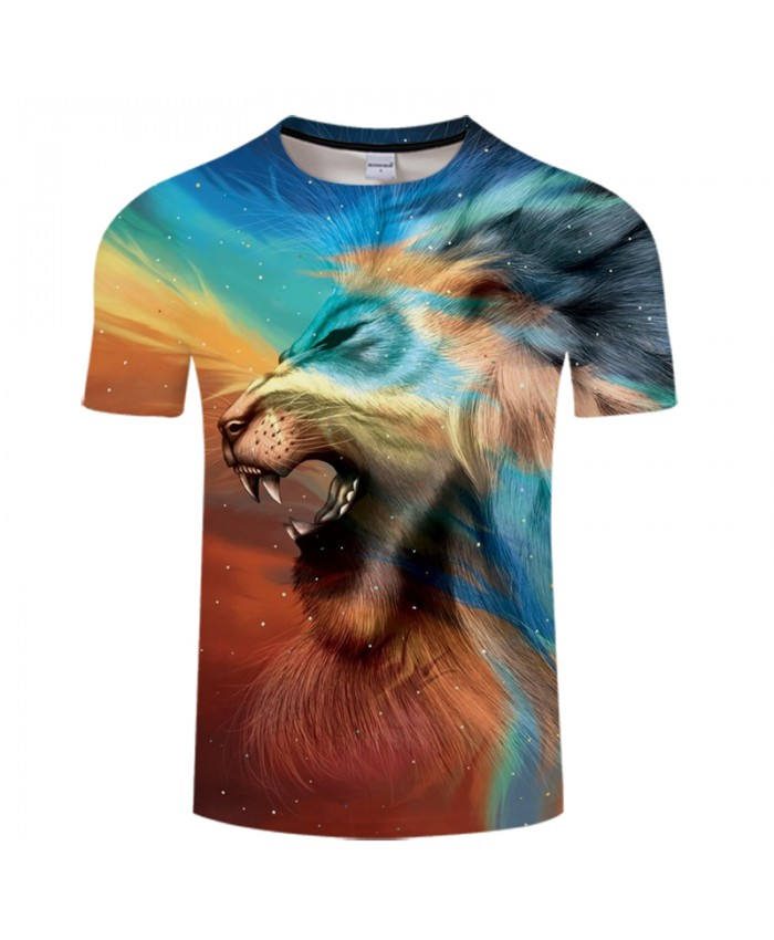 Lion Printed 3D T shirts Brand Men Tops Tees Short Sleeve Round Neck T-shirts Fashion Camiseta Summer Tshirts Animal