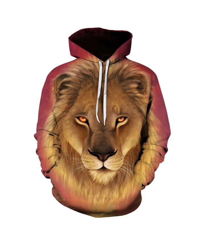 Lion Printed Men Hoodies Women 3D Sweatshirts Novelty Pullover Hooded Tracksuits Pocket Male Jacket Unisex Quality Outwear