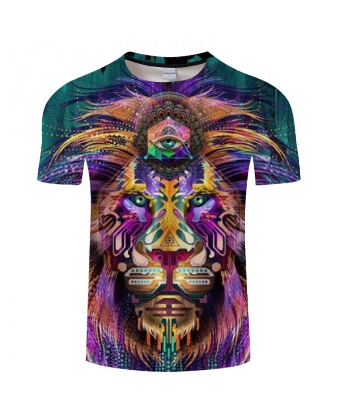 Lion Printed Men Tshirits Drop Ship 3D Casual Round Neck T-shirt Fashion Tops&Tees Short Sleeve