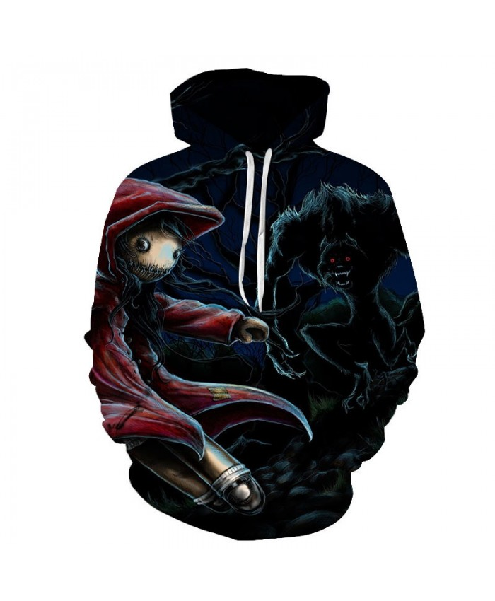 Little Red Riding Hood And Black Monster 3D Printed Men Pullover Sweatshirt Clothing for Men Custom Pullover Hoodie
