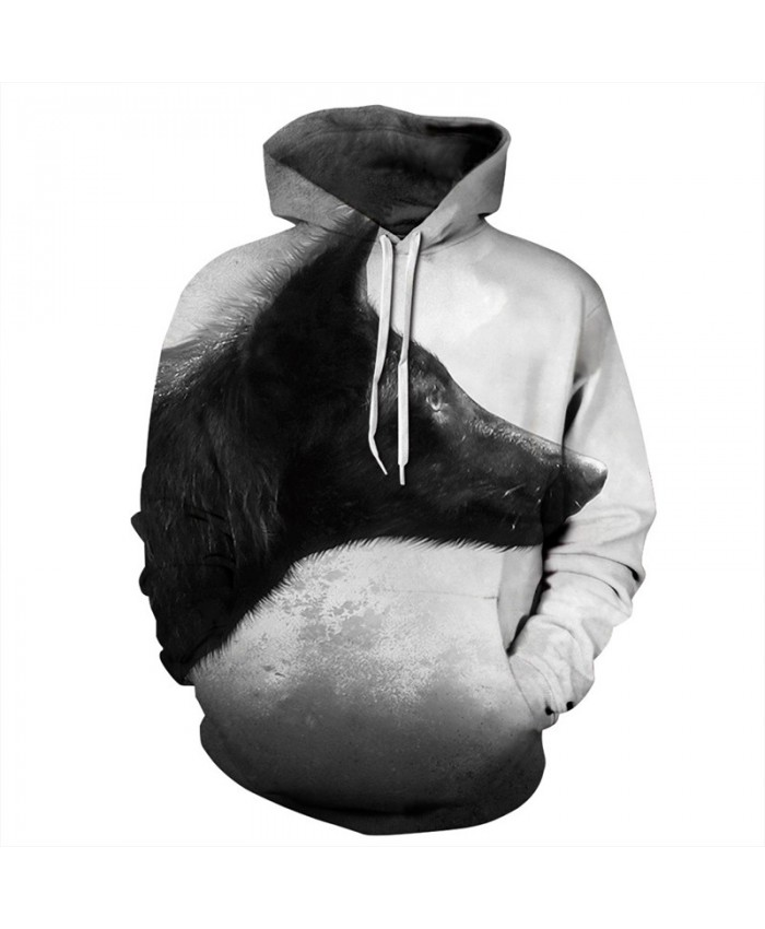 Lonely Wolf Print Fashion Street Clothes Casual Hoodie Pullover Men Women Casual Pullover Sportswear