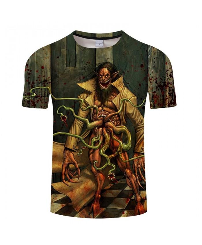 Long Piranha On The Belly 3D Print tshirt Men tshirt Summer Casual Short Sleeve Male O-neck Tops&Tee Drop Ship