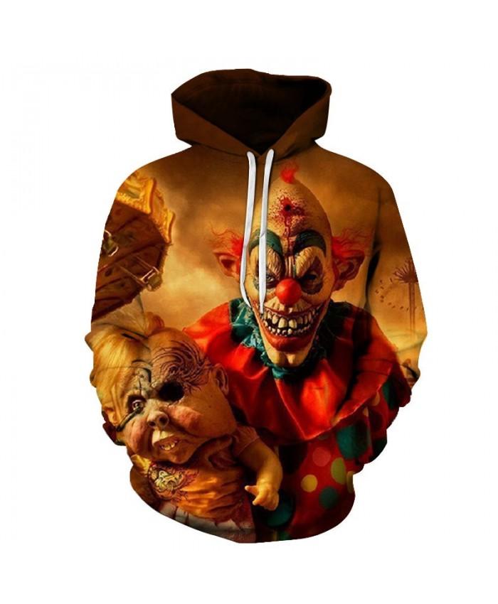 Long Red-haired Clown 3D Print Men Pullover Sweatshirt Clothing for Men Custom Pullover Hoodie Streetwear Sweatshirt