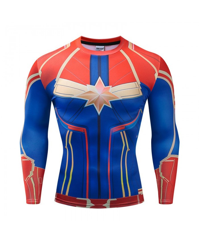 Long Sleeve Men Fitness Compression Bodybuilding The Avengers 4 Tops Long Sleeve Tee Brand Marvel Round Neck