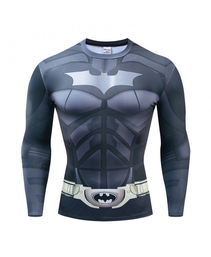 Long Sleeve Men Marvel Batman Fitness Compression Bodybuilding Tops Long Sleeve Tee The Avengers 4 Brand Fashion Round Neck