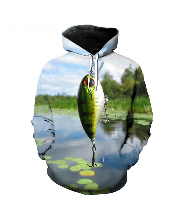 Lotus Pond Fish Hook 3d Printed Fun Hooded Sweatshirts Men Women Casual Pullover Sportswear