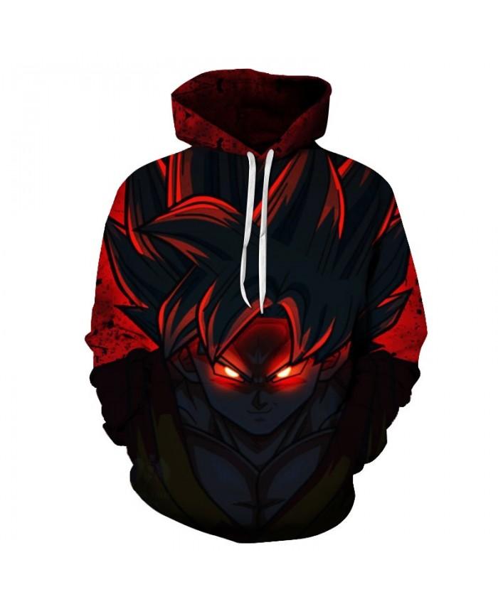 Luminous eyes Black&Red Cartoon Hoodies Men Women Band Hoodie Pullover Goku Sweatshirts Dragon Ball Top DropShip