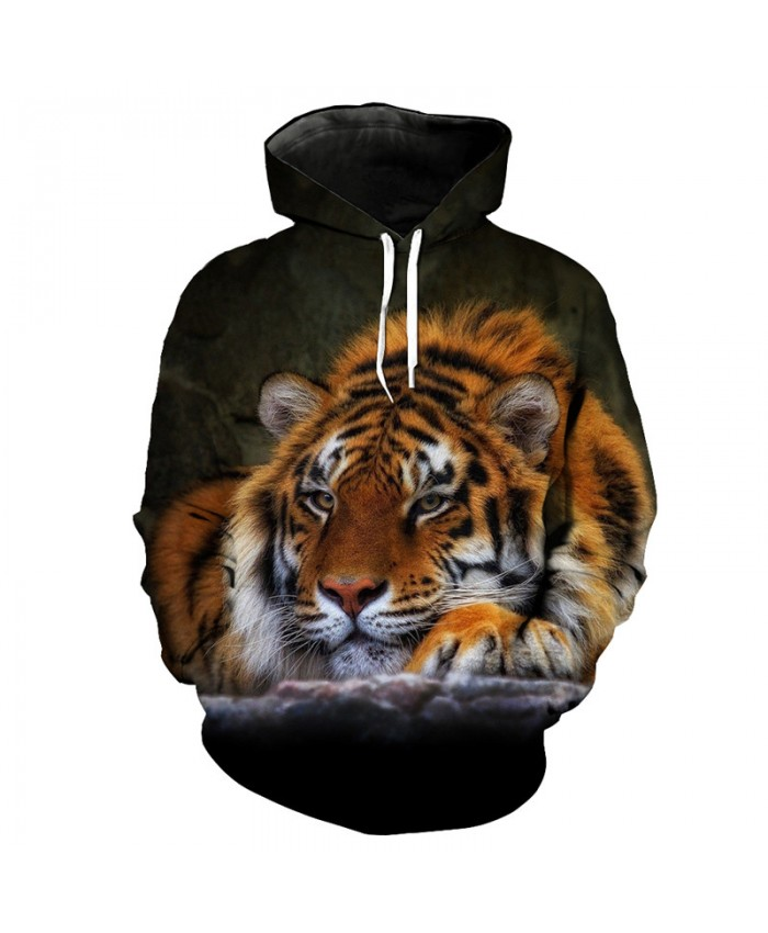Lying Beast King Tiger Fashion Sportswear Men Women Cool Hooded Sweatshirt Casual Hoodie Autumn Tracksuit Pullover Hooded Sweatshirt