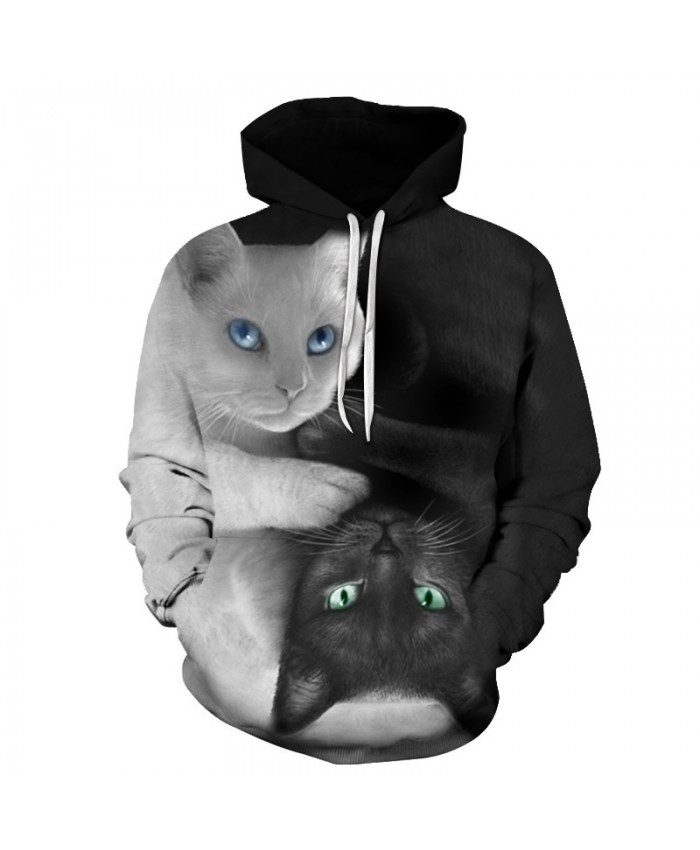 MEN Yin Yang Cat Hoodies 3D Hoodie Sweatshirts Unisex Tracksutis Funny Hoody Pullover Brand Coats Male Hip Hop Streetwear Autumn