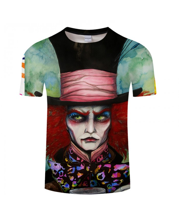 Mad Hatter by Pixie cold Art Funny 3D T-shirts Men Funny Printed T shirts Brand Tops Short Sleeve Camiseta Summer Top