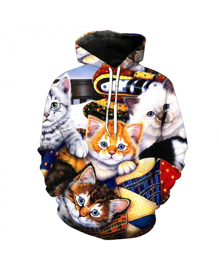 Many Cat Prints High Quality Casual Hooded Sweatshirt Fall Pullover Casual Hoodie Autumn Tracksuit Pullover Hooded Sweatshirt