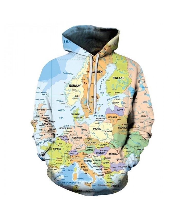 Many Countries Map 3D Print Men Pullover Sweatshirt Pullover Hoodie Casual Fashion Men Hoodie Streetwear Sweatshirt