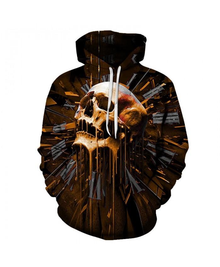 Many Holes In The Skull Print Men Pullover Sweatshirt Clothing for Men Custom Pullover Hoodie Streetwear Sweatshirt