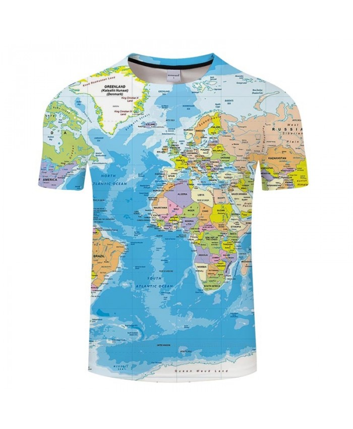 Map 3D Printed Ocean Men tshirt Mens Shirt Casual Summer Short Sleeve Male tshirt Brand Men Round Neck Tops&Tee