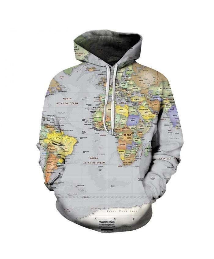 Map 3D Printed South Atlantic Men Pullover Sweatshirt Pullover Hoodie Casual Streetwear Sweatshirt Fashion Men