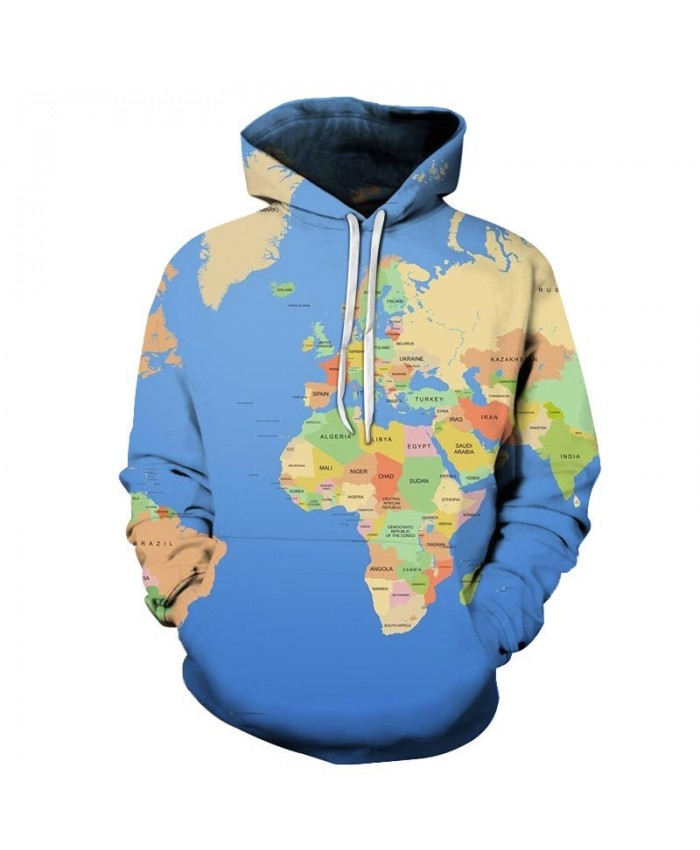 Map Blue Ocean 3D Printed Men Pullover Sweatshirt Pullover Hoodie Fashion Casual Men Streetwear Sweatshirt Hoodies