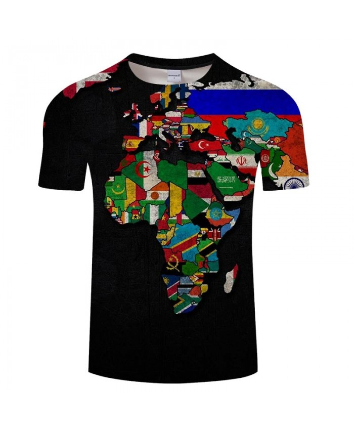 Map Countries 3D Printed Men tshirt Mens Shirt Casual Summer Short Sleeve Male tshirt Brand Men Round Neck