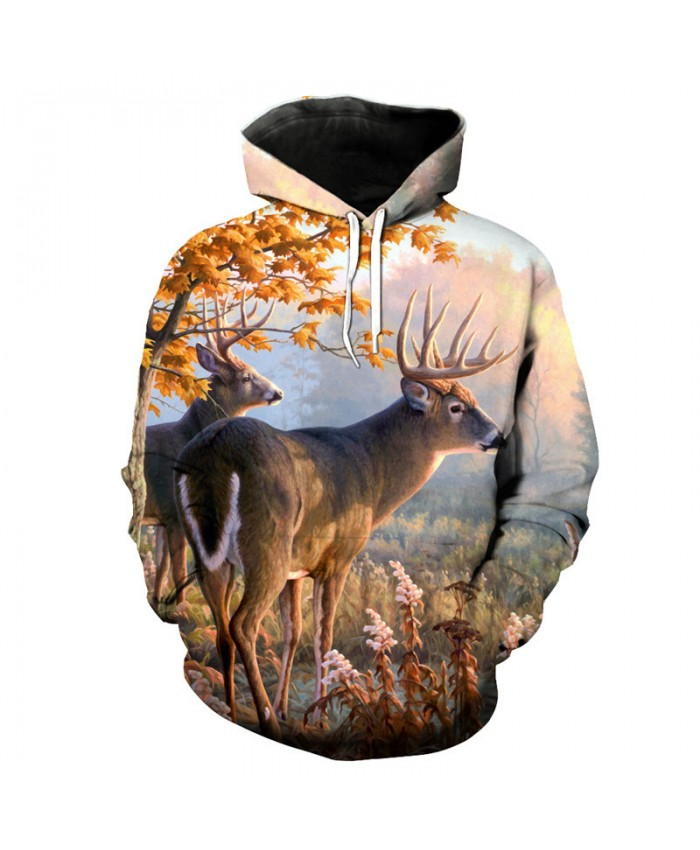 Maple Leaf Deer Print 3D Hooded Pullover Fashion Men Women Sweatshirt