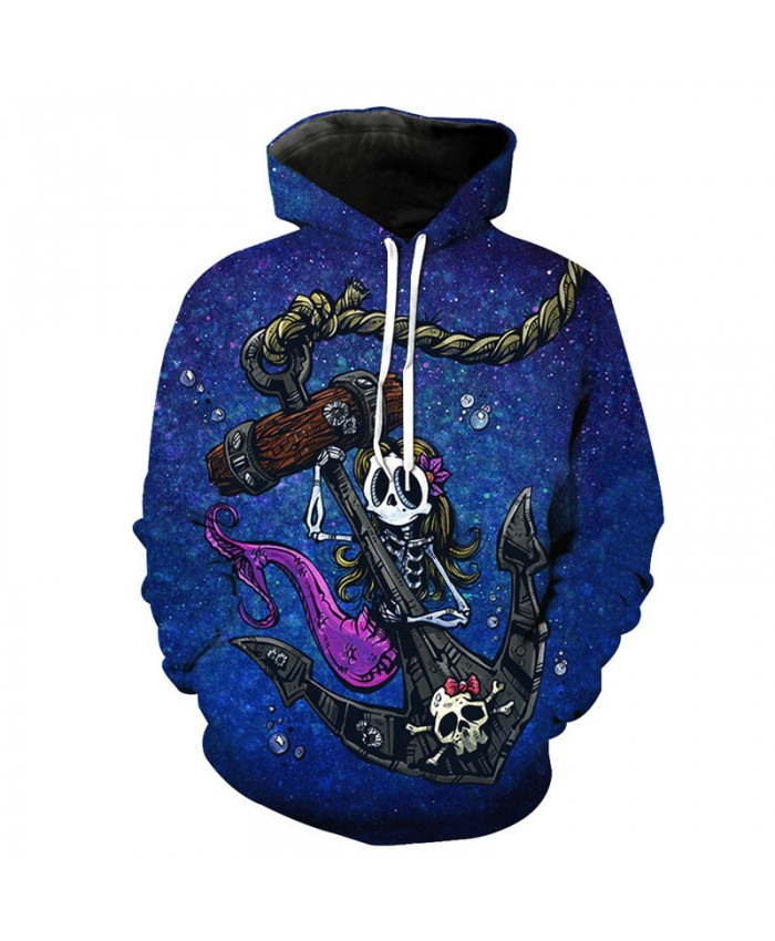 Maritime Skeleton Mermaid Pirate Anchor Hooded Sweatshirt Casual Pullover