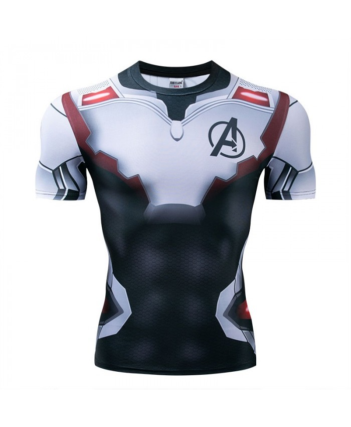 Marvel t shirt Men Tops Short Sleeve Tees Fitness Compression Mens T-Shirt Bodybuilding Camiseta The Avengers