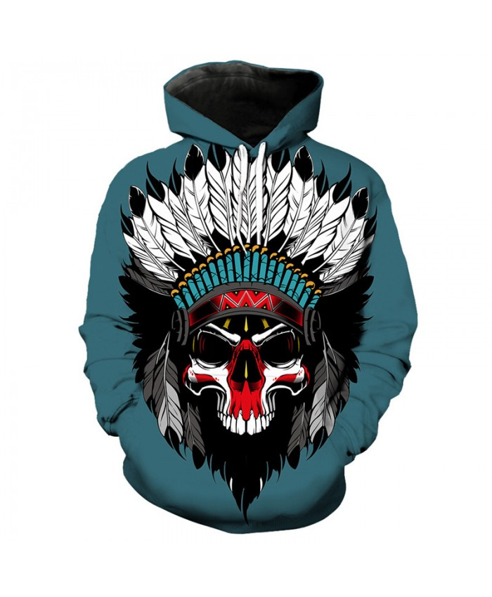 Men's 3D Hoodie Green pullover indian skull print fashion hooded sweatshirt Tracksuit Pullover Hooded Sweatshirt