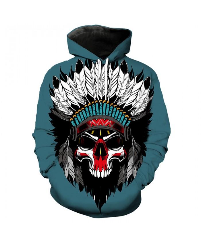 Men's 3D Hoodie Green pullover indian skull print fashion hooded sweatshirt Tracksuit Pullover Hooded Sweatshirt